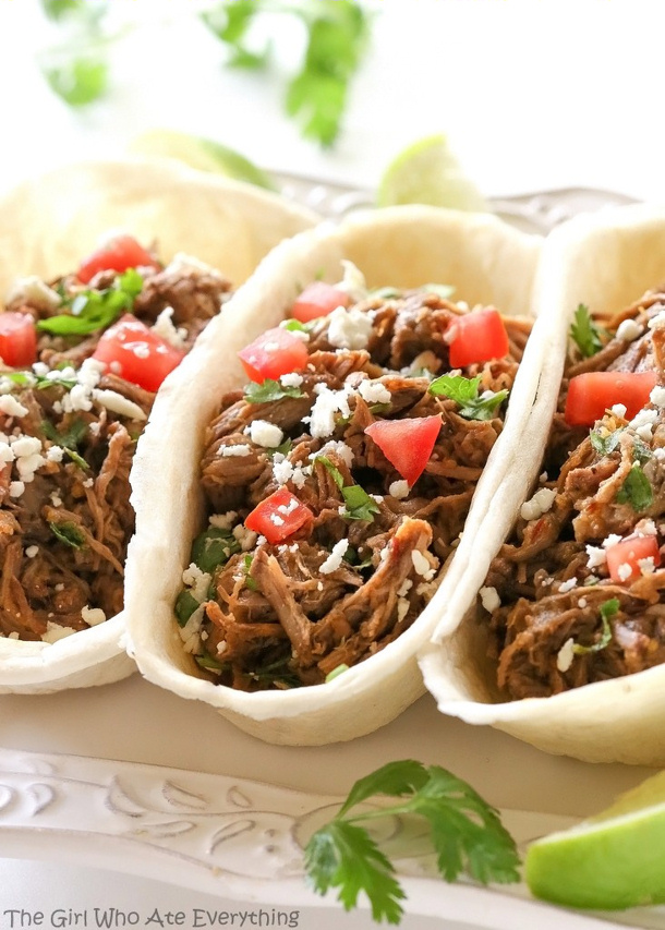 Slow Cooker Spicy Barbacoa Tacos via The Girl Who Ate Everything