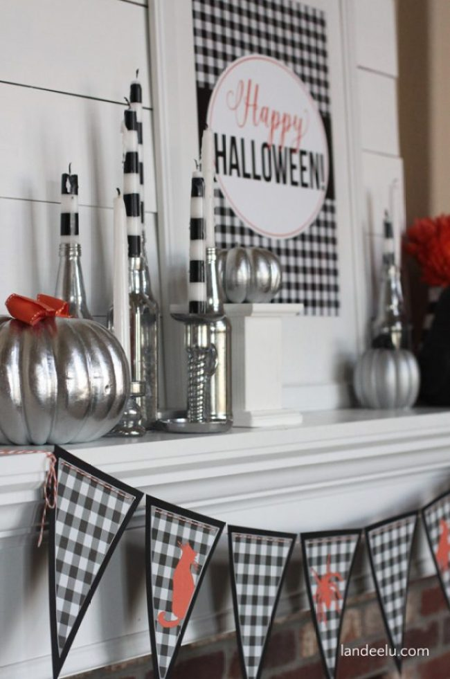 Stripes Halloween Mantel
