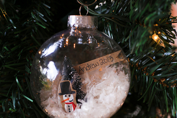 Fingerprint Snowman Snowglobe Ornament The Nerds Wife