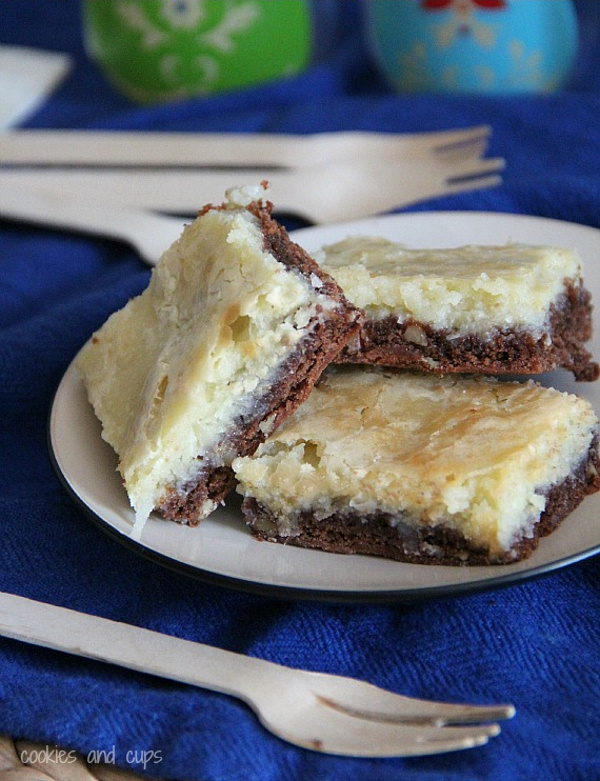 German Chocolate Cream Cheese Snack Cake via cookies and cups