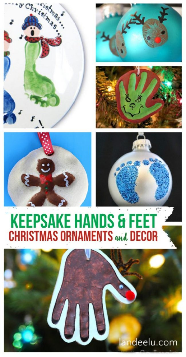 Tons of awesome keepsake ornaments and Christmas decor to make using your kids' hands and feet!