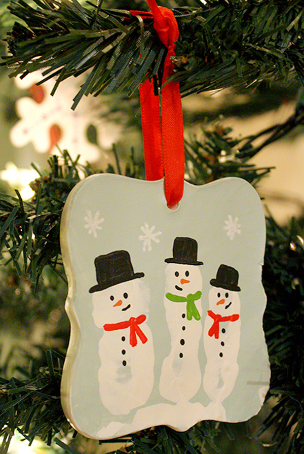 Snowman Handprint Ornament little red window