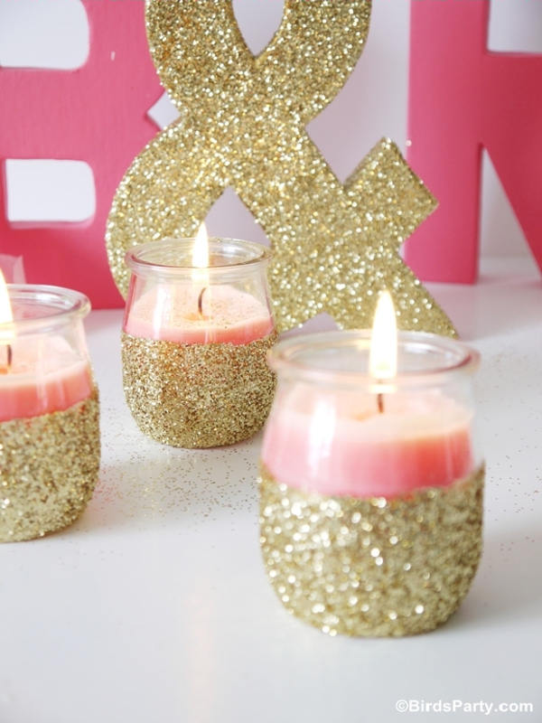 diy-candles-pot-glitter-pink- Birds Party