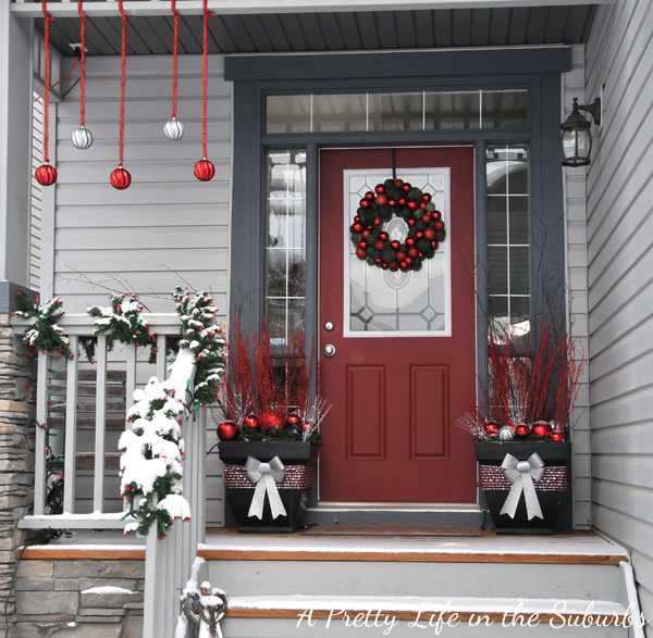 Festive Red and Silver Front Porch a pretty life in the suburbs