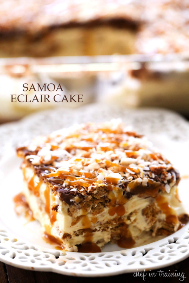 No-Bake-Samoa-Eclair-Cake chef in training