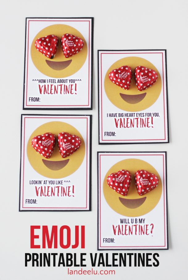 DIY Valentines - Emoji Printable Valentines! Perfect for tweens to hand out to friends and classmates! | landeelu.com