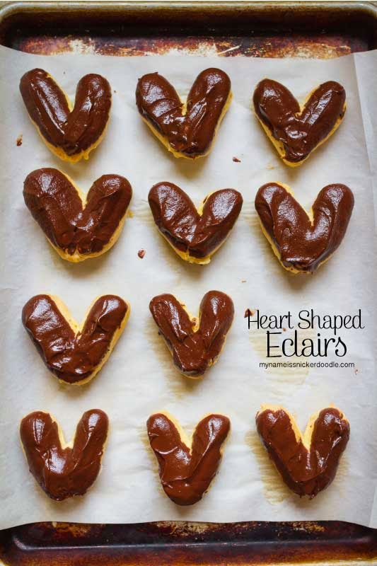 Heart Shaped Chocolate Eclairs