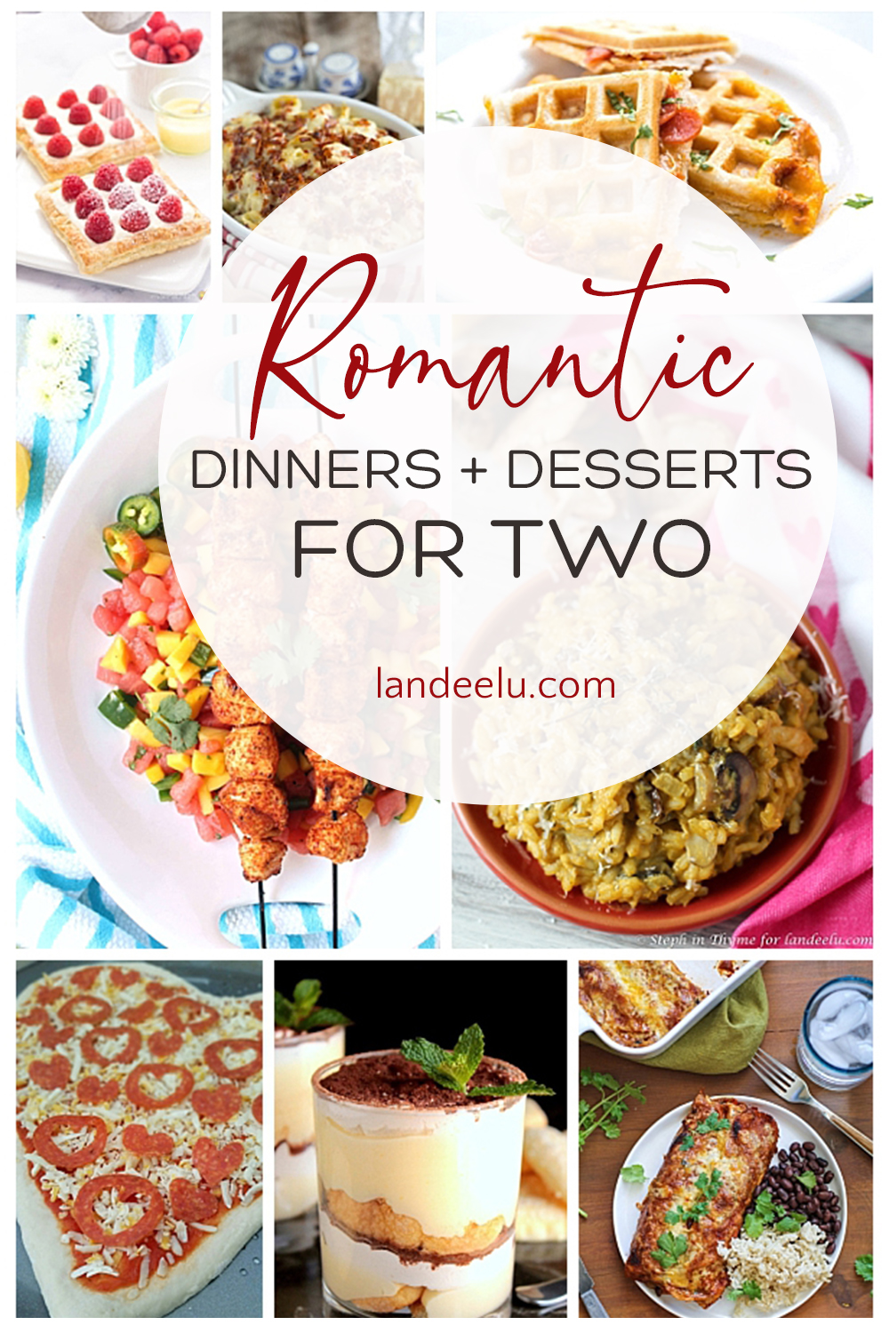 Perfect dinner and dessert ideas for romantic nights! Dinner for two for Valentine's Day, anniversaries or empty nesters! #valentinesday #romanticdinner #valentinesdaydinner #dinnerfortwo