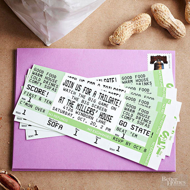 Stadium Seat Ticket Invitations BHG