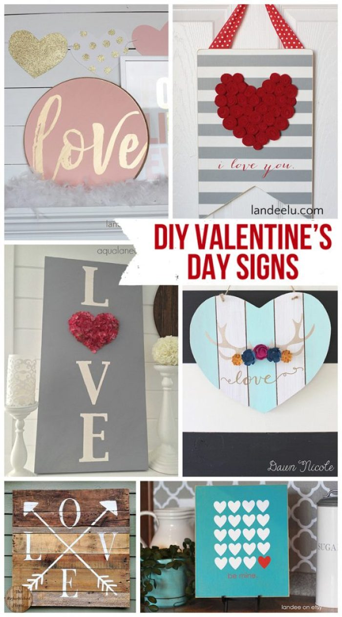 DIY Valentine's Day Decor Signs - So many fun DIY signs in all different styles and colors to make for Valentine's Day!