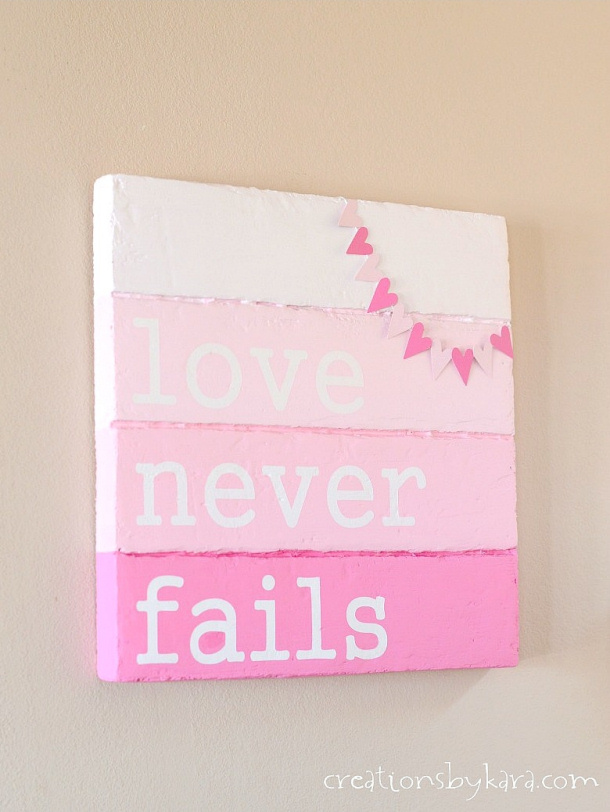 Valentines-Day-Sign-with-Bunting-Faux Pallet Sign Creations by Kara
