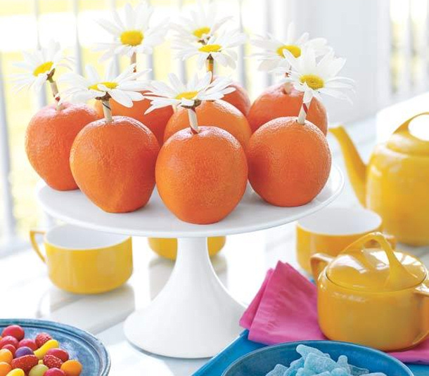 Daisy and Oranges Centerpiece Real Simple