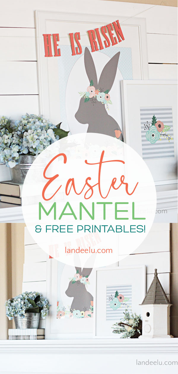 He Is Risen Easter Mantel Idea with Free Easter Printables! #easter #easterdecor #eastermantel #easterprintables
