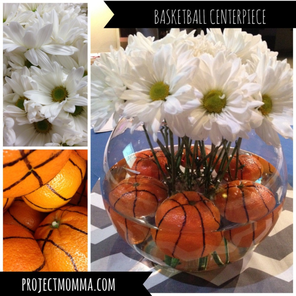 Oranges in Centeripiece Idea Basketball party Project Momma