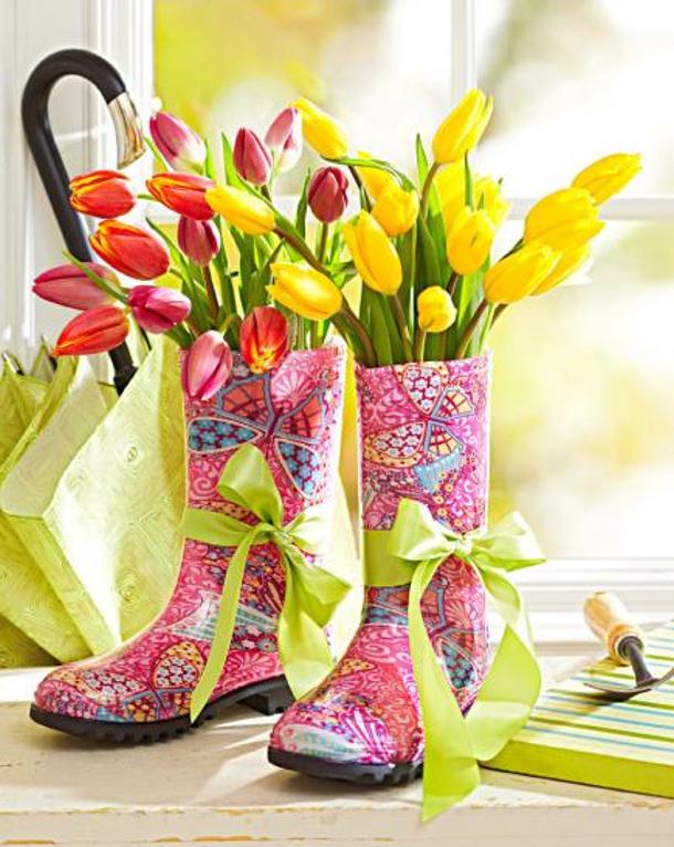 Rain Boots as Vases Aiken House and Gardens