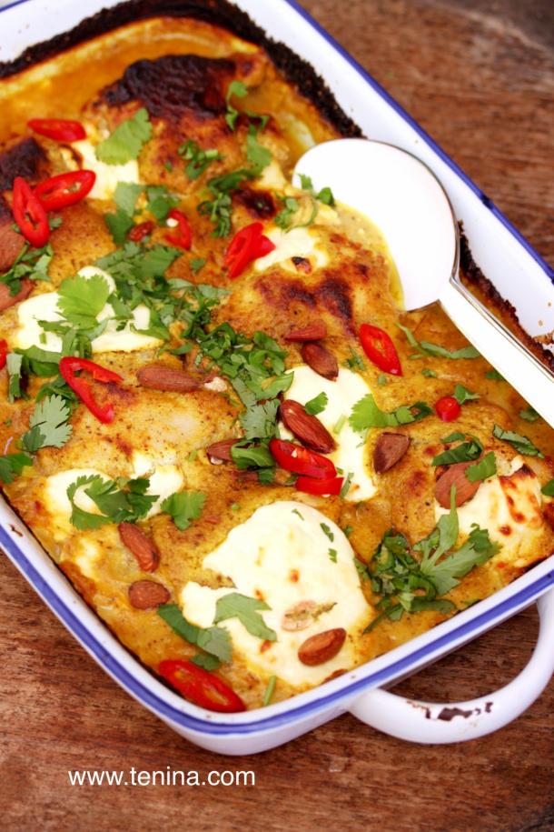 Chicken Curry Recipe - Almond Chicken Curry with Yoghurt Recipe via Tenina