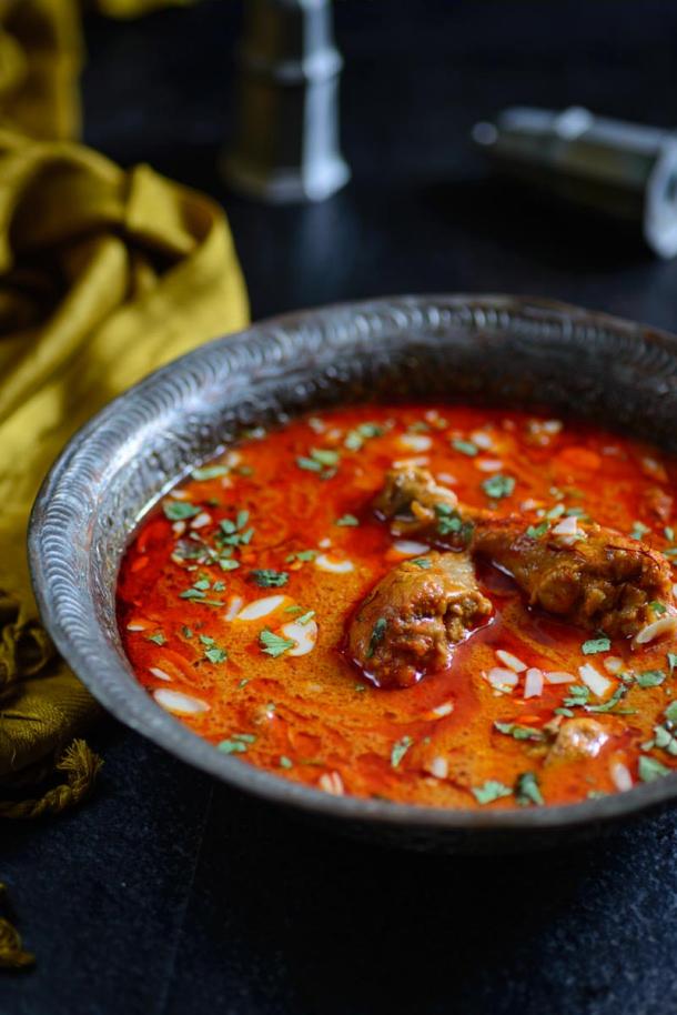Chicken Curry Recipe - Mughlai Zaafrani Murgh Recipe via Whisk Affair