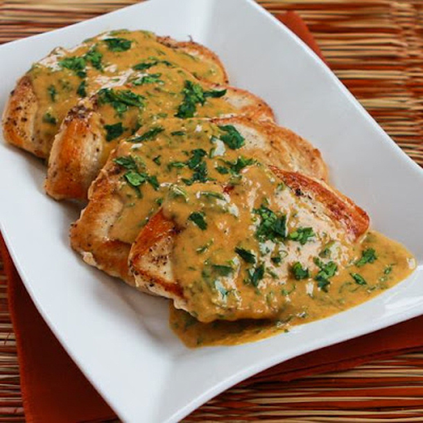 Chicken Curry Recipe - Sauteed Chicken with Cilantro and Red Thai Curry Peanut Sauce via Kalyns Kitchen