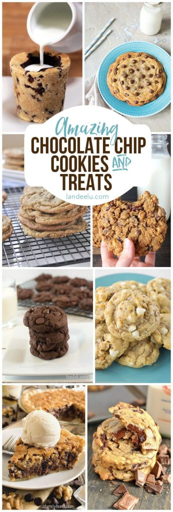 Tons of awesome chocolate chip cookies recipes and chocolate chip cookie treats! My favorite!