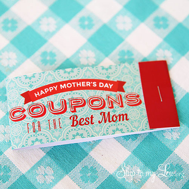 DIY gift ideas for Mothers Day - FREE Printable Mothers Day Coupons via Skip to my Lou
