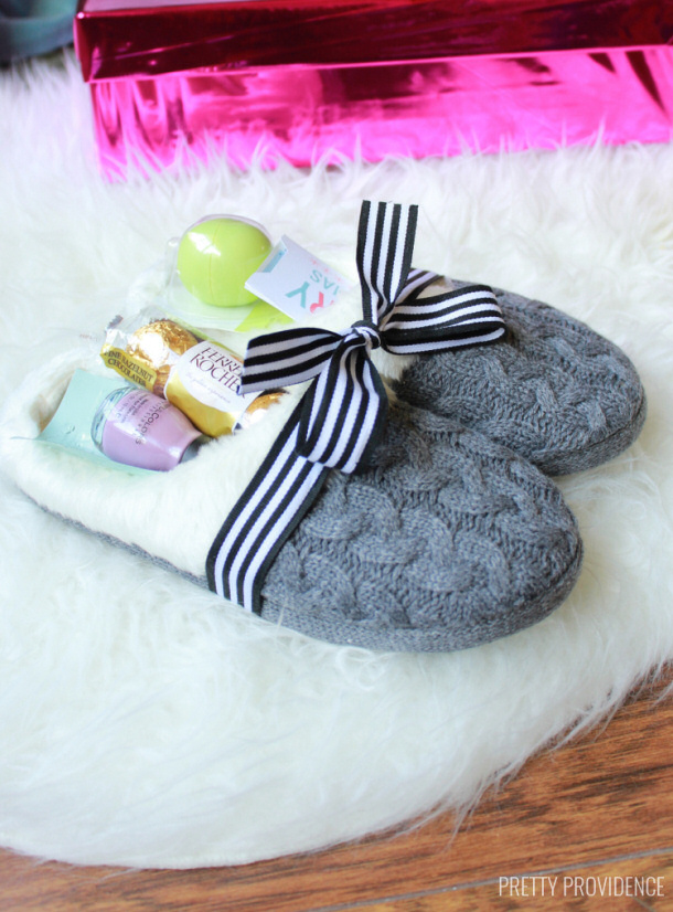 DIY gift ideas for Mothers Day - Slippers full of goodies via pretty providence