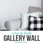 Create an eye-catching gallery wall with interesting art pieces and photos! Love the black and white and pops of color in this one!