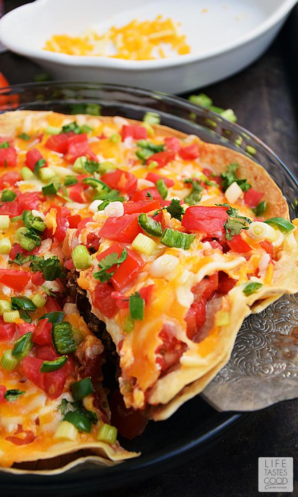 Ground Beef Recipes - Easy Taco Pie Recipe via Life Tastes Good