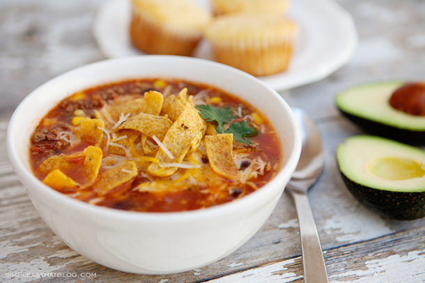 Ground Beef Recipes - Quick and Easy Taco Soup Recipe via Simple as That