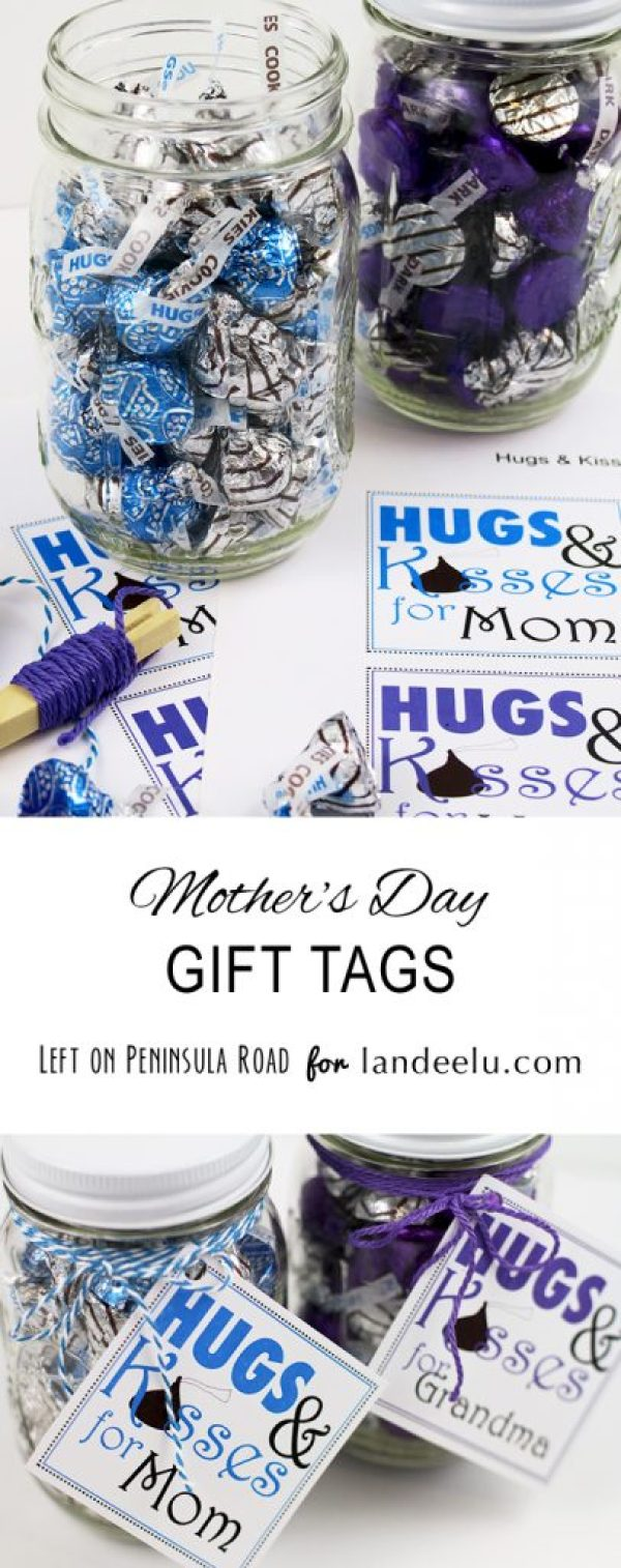 """Hugs and Kisses"" for Mom and Grandma Gift Tags - just attach to some Hershey's Chocolate Kisses and Hugs - so easy! - Mother's Day Gift Tags FREE Printables via Landeelu"