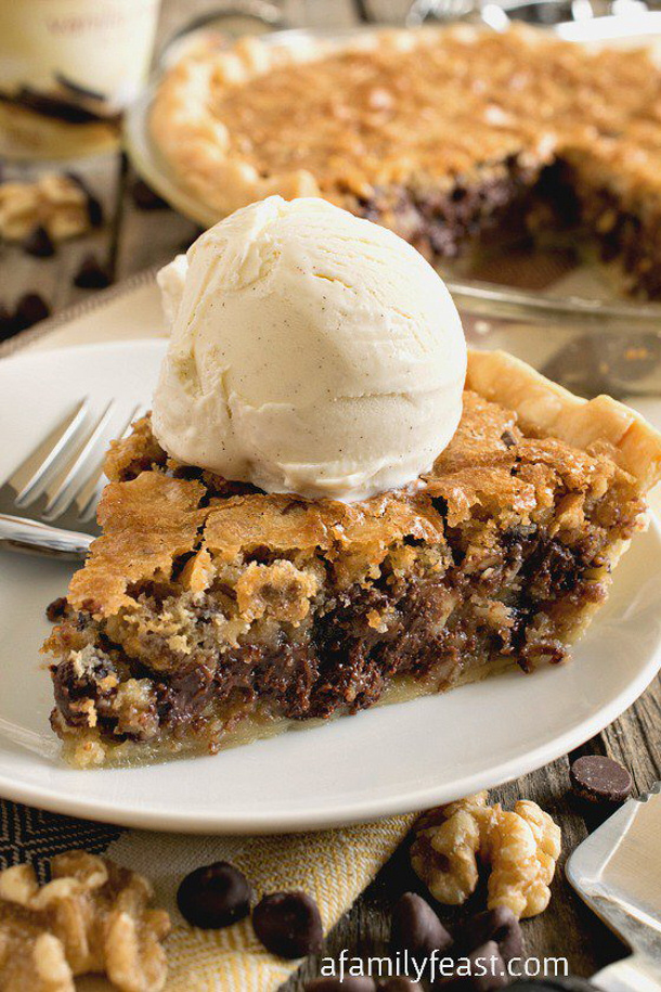 Toll House Chocolate Chip Cookies Pie Recipe via A Family Feast