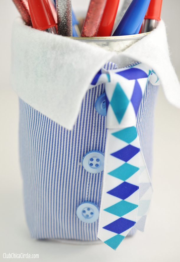 DIY Fathers Day Gift Ideas - Adorable Suit and Tie Pencil Cup Craft Idea and Tutorial via Club Chica Circle