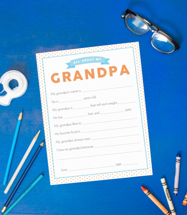 DIY Fathers Day Gift Ideas - All About Grandpa Free Printable Questinnaire via Capturing Joy with Kristen Duke - There is one for Dad too