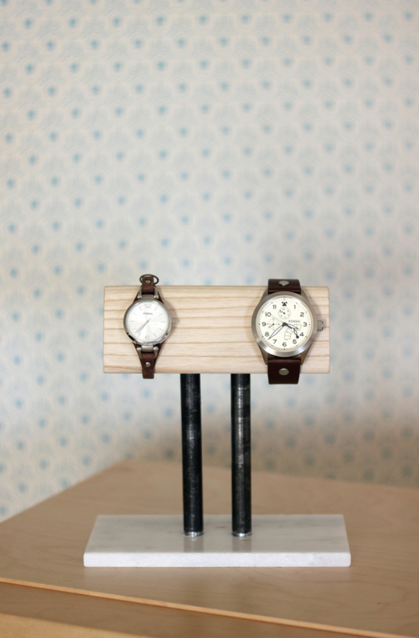 DIY Fathers Day Gift Ideas - Make a cool DIY Watch Stand for the nightstand or his side of the bathroom or closet - Tutorial via The Merry Thought