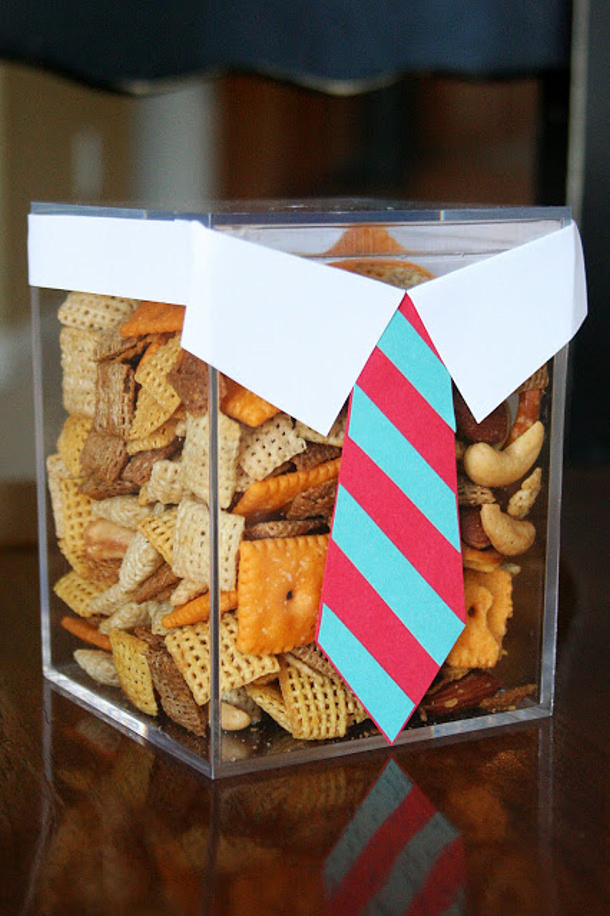 DIY Fathers Day Gift Ideas - Template and Tutorial to make a cute Suit and Tie Box for Dads Favorite Snacks via eighteen25