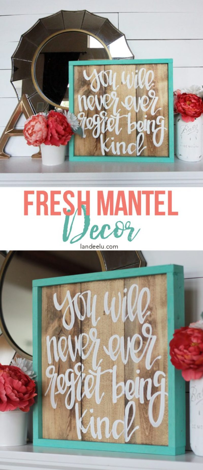 Love this hand-painted sign from Salty Bison! Cute and fresh mantel decor!