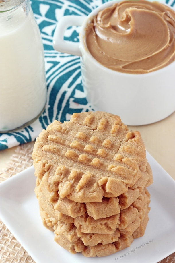 Old Fashioned Peanut Butter Cookies Recipe via Cooking on the Front Burner
