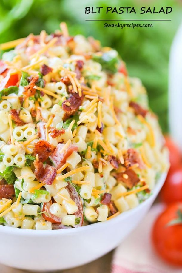 Pasta Salad Recipe - Easy and Delicious BLT Pasta Salad Recipe via Swanky Recipes - Perfect side dish for potlucks and barbecues all year round!