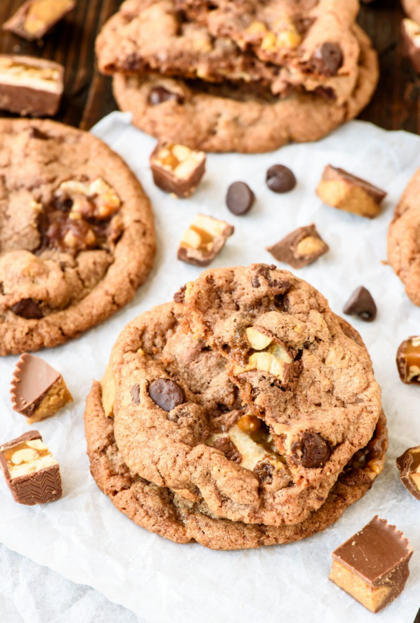 Peanut Butter Snickers Cookies Recipe via Well Plated