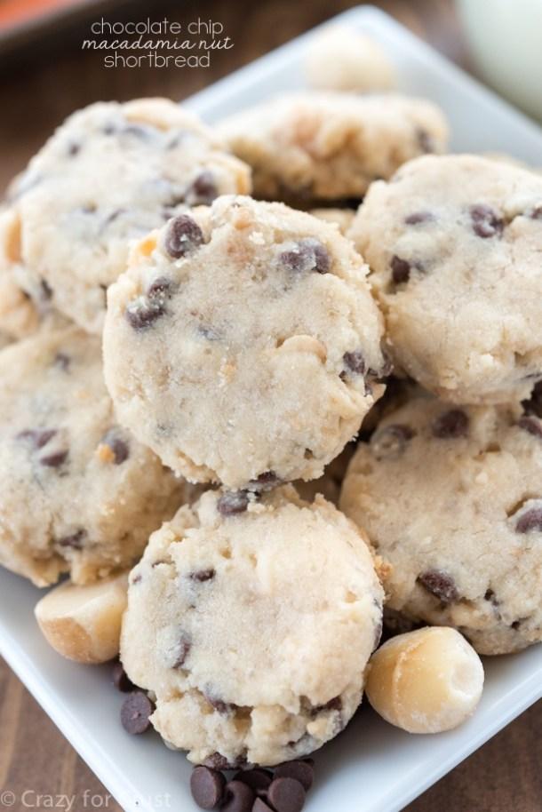 Shortbread Cookies - Macadamia Nut Chocolate Chip Shortbread Cookies Recipe via Crazy for Crust