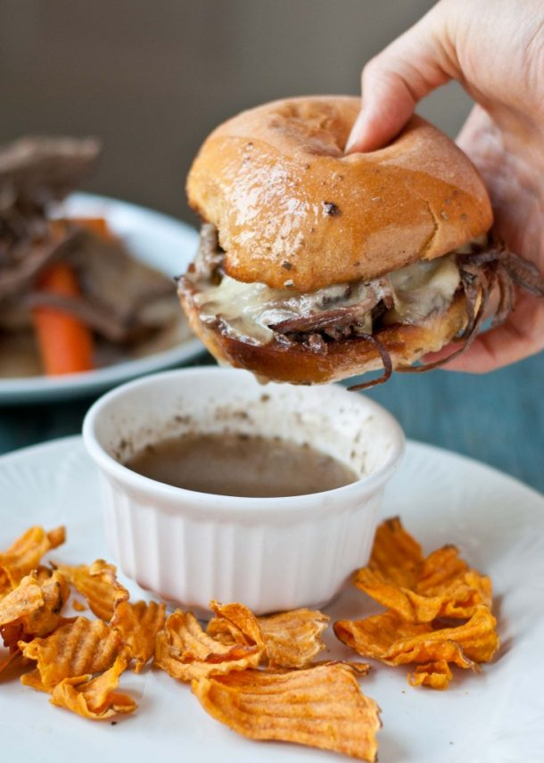 Beef Recipes - Crockpot Beef Brisket French Dip Sandwiches Recipe via Neighbor Food Blog
