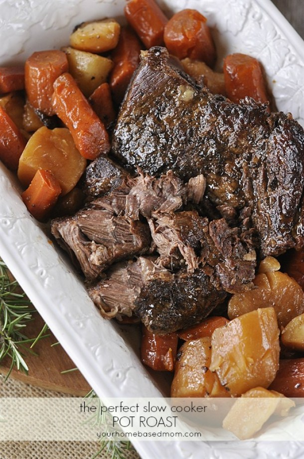 Beef Recipes - The Perfect Slow Cooker Pot Roast Recipe via Your Homebased Mom