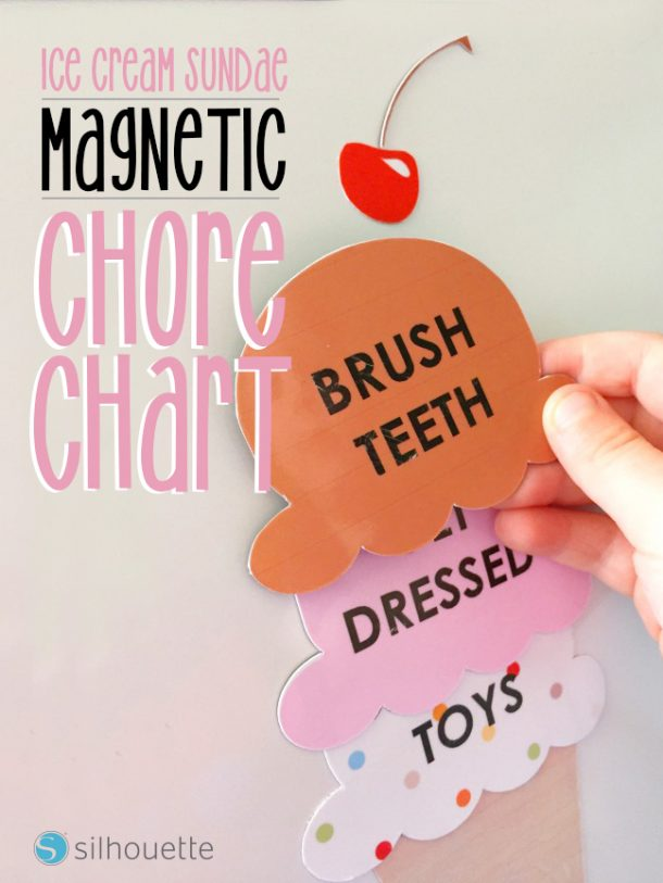 DIY Chore Charts - Adorable Magnetic Ice Cream Cone Chore Chart - Perfect for Little Kids via silhouette