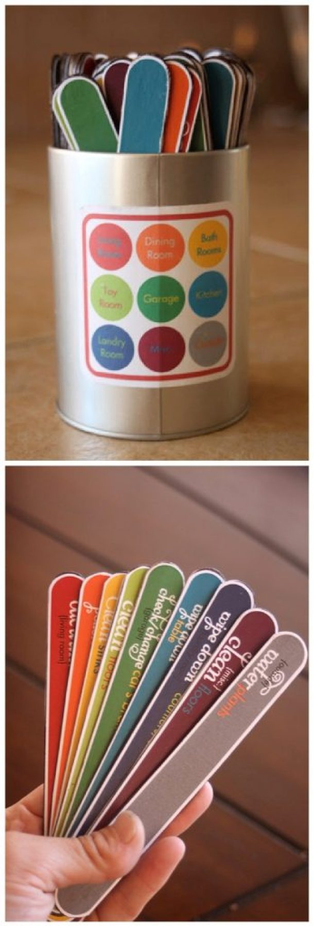 DIY Chore Charts - Kids Color Coded Chore Chart in a Can System with Free Printables via Whatever Dee Wants