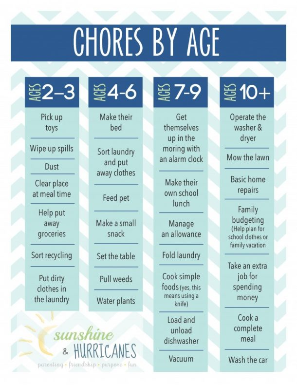sample chore chart for adults