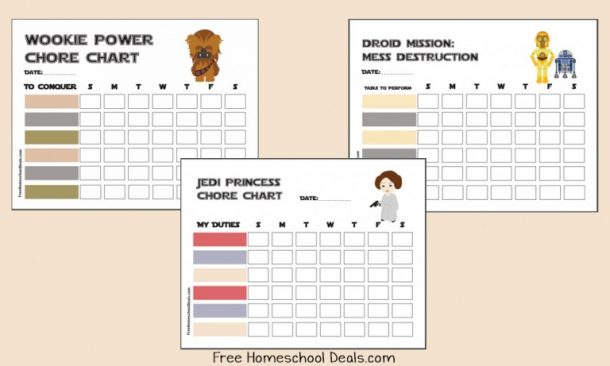 DIY Chore Charts - STAR WARS Free Printable Chore Charts via Free Homeschool Deals