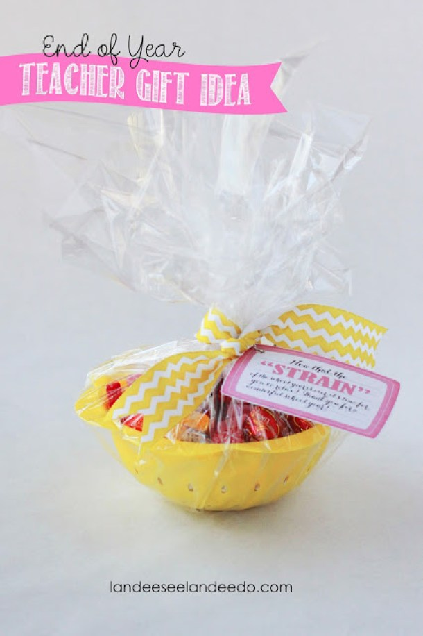 Do it Yourself Gift Basket Ideas for all Occassions - CUTE Now that the STRAIN is over end of the year teacher gift idea with plastic strainer - via Landeelu