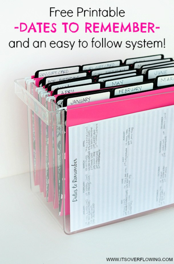 Organizational Printables - Dates to Remember System of organizing Birthday Cards and more including a Free Printable via Its Overflowing