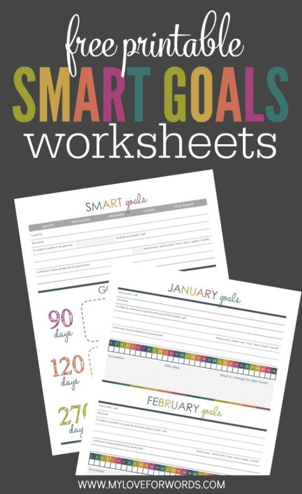 Organizational Printables - Free Printable Smart Goals System Worksheets via My Love for Words