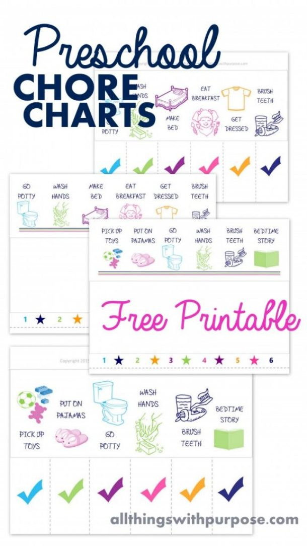 Preschool Age Kids Chore Charts with Cute Illustrations - Free Printables via All Things With Purpose
