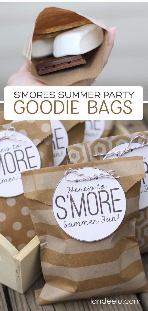 S'mores Summer Party Goodie Bags {landeelu.com} #smores #summerparty #goodiebags #smoresparty
